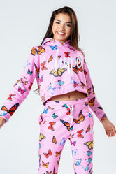 HYPE PINK BUTTERFLY KIDS CROP PULLOVER HOODIE