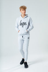 HYPE LIGHT GREY SCRIPT KIDS HOODIE & JOGGER SET