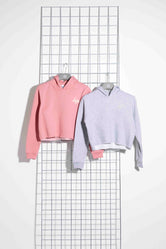 HYPE TWO PACK PINK & GREY KIDS CROP PULLOVER HOODIES