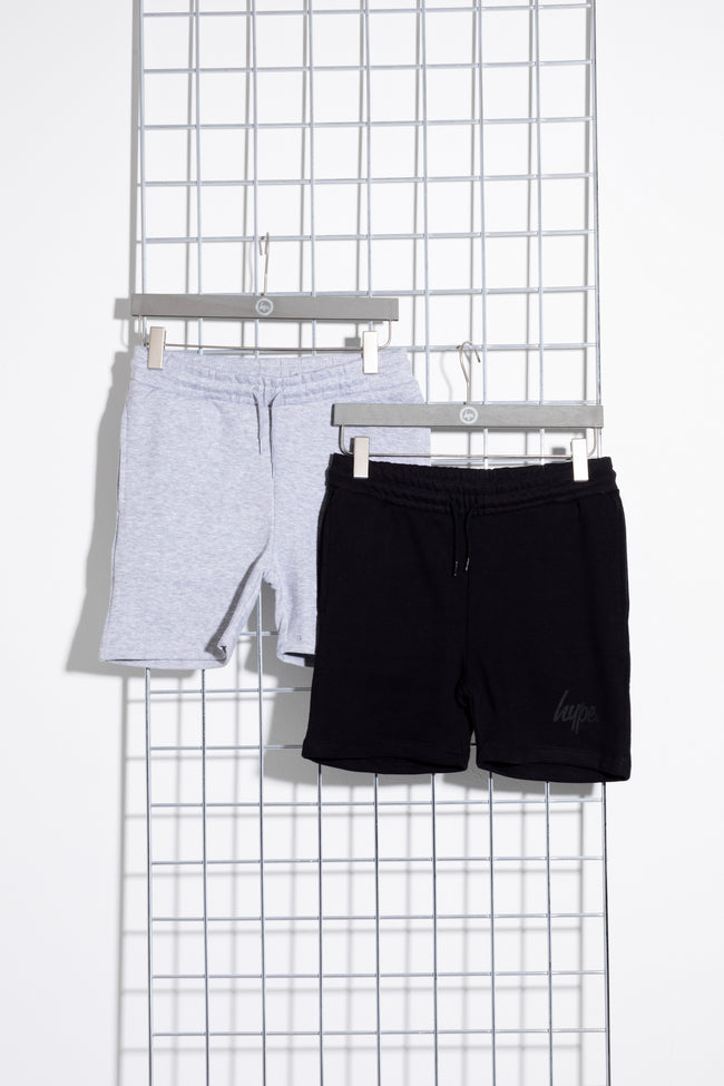 HYPE TWO PACK BLACK & GREY KIDS SHORTS