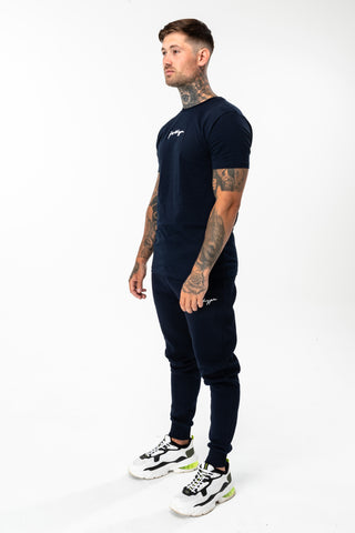 HYPE NAVY SCRIBBLE LOGO MEN'S T-SHIRT