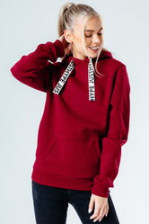 HYPE BURGUNDY DRAWSTRING WOMEN'S PULLOVER HOODIE