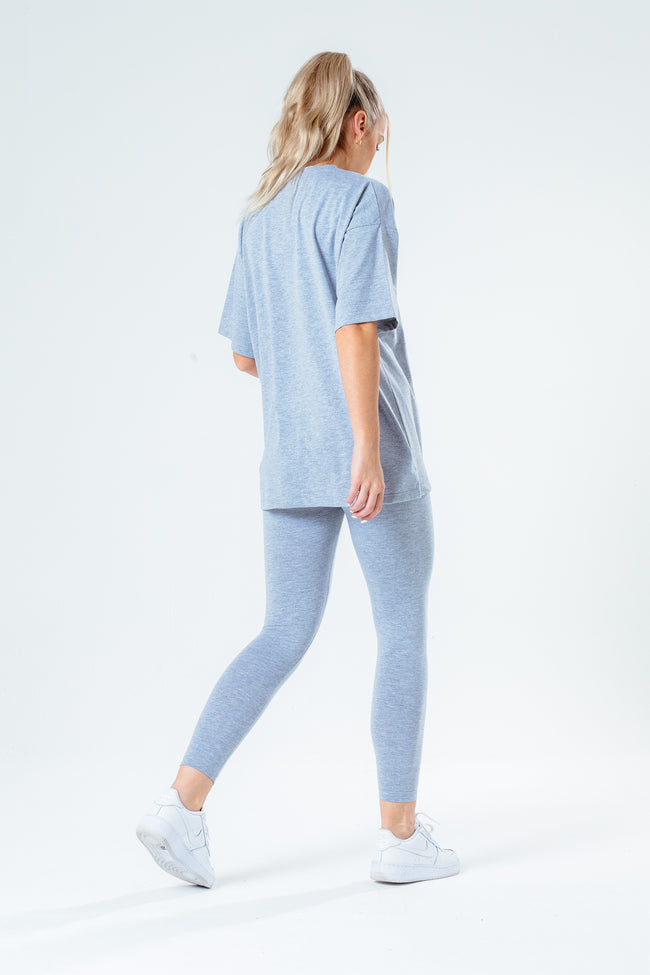 HYPE GREY OVERSIZED T-SHIRT & LEGGINGS WOMEN'S SET