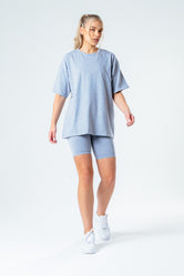 HYPE GREY OVERSIZED T-SHIRT & CYCLE SHORTS WOMEN'S SET