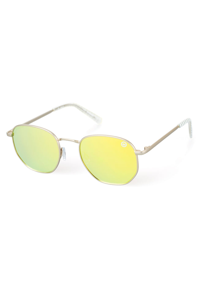 HYPE GOLD YELLOW GEO SUNGLASSES