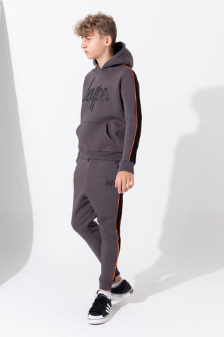 HYPE GREY PANELLED KIDS PULLOVER HOODIE