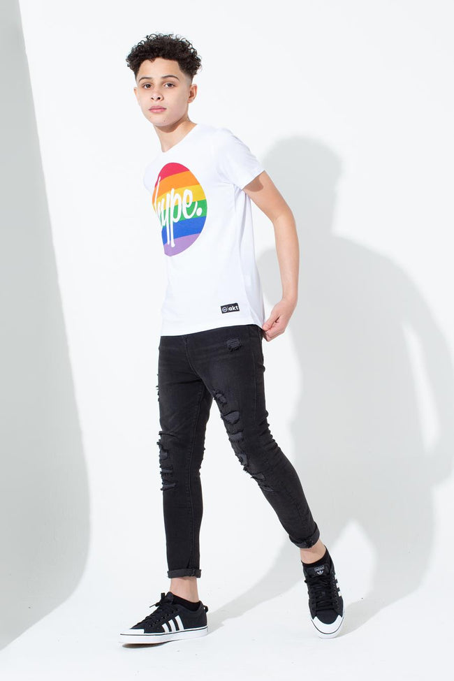 HYPE PRIDE WHITE CIRCLE SCRIPT KIDS T-SHIRT