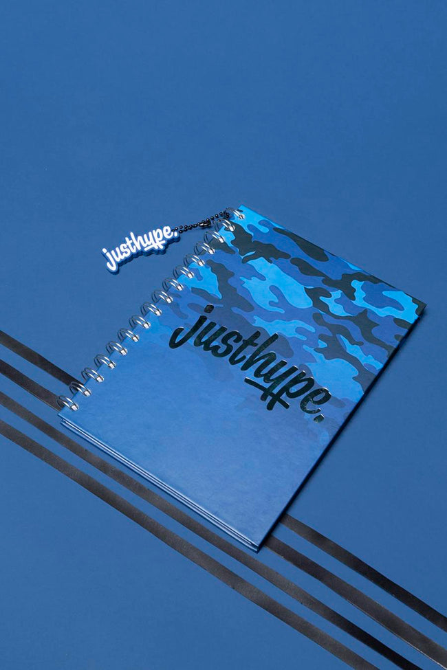 HYPE BLUE CAMO A5 NOTEBOOK WITH RUBBER CHARM