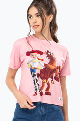 HYPE TOY STORY PINK COWGIRL WOMENS CROP T-SHIRT