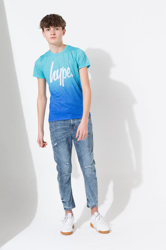 HYPE TEAL SPECKLE FADE SCRIPT KIDS SUB T-SHIRT