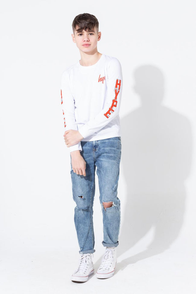 HYPE WHITE GRAFFITI COLLEGIATE SLEEVE PRINT KIDS L/S T-SHIRT