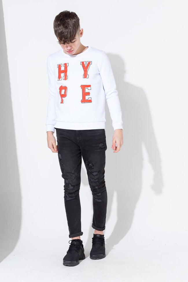 HYPE WHITE GRAFFITI COLLEGIATE SCRIPT KIDS CREW NECK