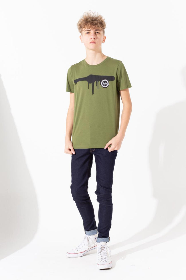 HYPE KHAKI SPRAY DRIP CREST KIDS T-SHIRT