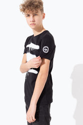 HYPE BLACK SPRAY DRIP PRINT KIDS T-SHIRT
