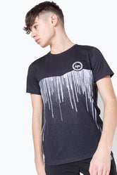 HYPE BLACK WHITE CHEVRON DRIPS CREST KIDS T-SHIRT