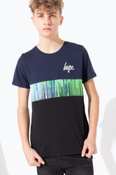 HYPE BLUE GREEN DRIP CONTRAST PANEL KIDS T-SHIRT