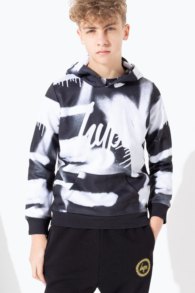 HYPE BLURRED MONO SPRAY KIDS PULLOVER HOODIE