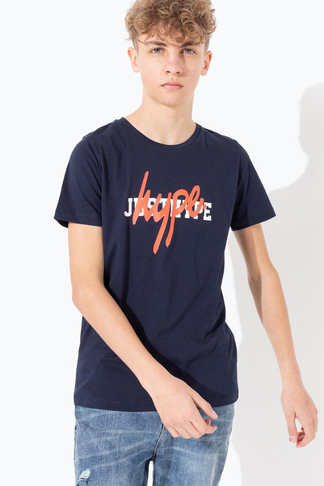 HYPE NAVY DOUBLE LOGO PRINT KIDS T-SHIRT