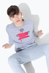 HYPE PINK SPRAY GRAFFITI KIDS CREW NECK