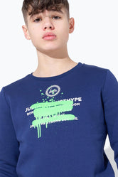 HYPE GREEN SPRAY GRAFFITI KIDS CREW NECK