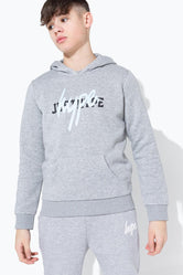 HYPE GREY DOUBLE LOGO PRINT KIDS PULLOVER HOODIE