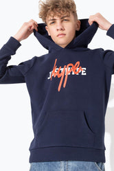 HYPE NAVY DOUBLE LOGO PRINT KIDS PULLOVER HOODIE