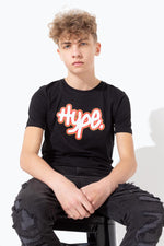 HYPE BLACK GRAFFITI LOGO KIDS T-SHIRT