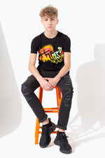 HYPE GRAFFITI PRINT DISHED HEM KIDS T-SHIRT