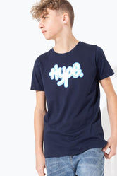 HYPE NAVY GRAFFITI LOGO KIDS T-SHIRT
