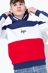 HYPE GB SPORT TRI COLOUR BLOCK KIDS PULLOVER HOODIE