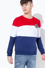 HYPE GB SPORT TRI COLOUR BLOCK KIDS CREW NECK