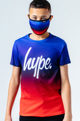 HYPE BLUE RED FADE KIDS T-SHIRT & FACE MASK SET