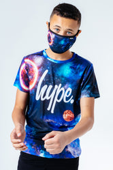 HYPE SPACE PRINT KIDS T-SHIRT & FACE MASK SET