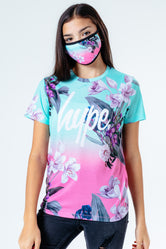 HYPE FLORAL FADE KIDS T-SHIRT & FACE MASK SET