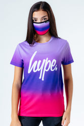 HYPE PINK PURPLE FADE KIDS T-SHIRT & FACE MASK SET