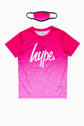 HYPE PINK SPECKLE KIDS T-SHIRT & FACE MASK SET