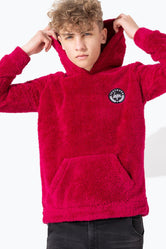 HYPE RED SHERPA KIDS PULLOVER HOODIE