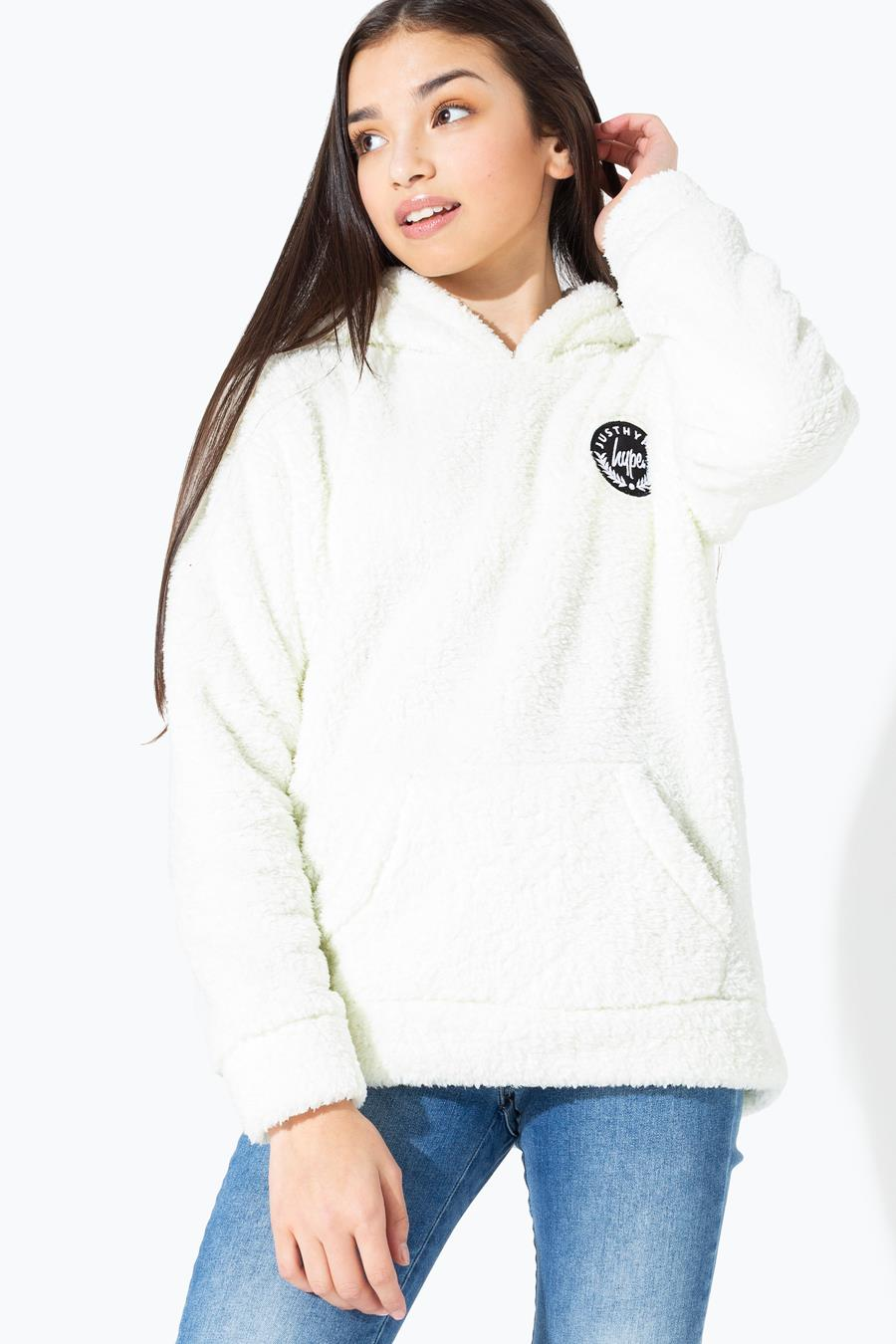 Hype Cream Sherpa Kids Pullover Hoodie | Size 16Y
