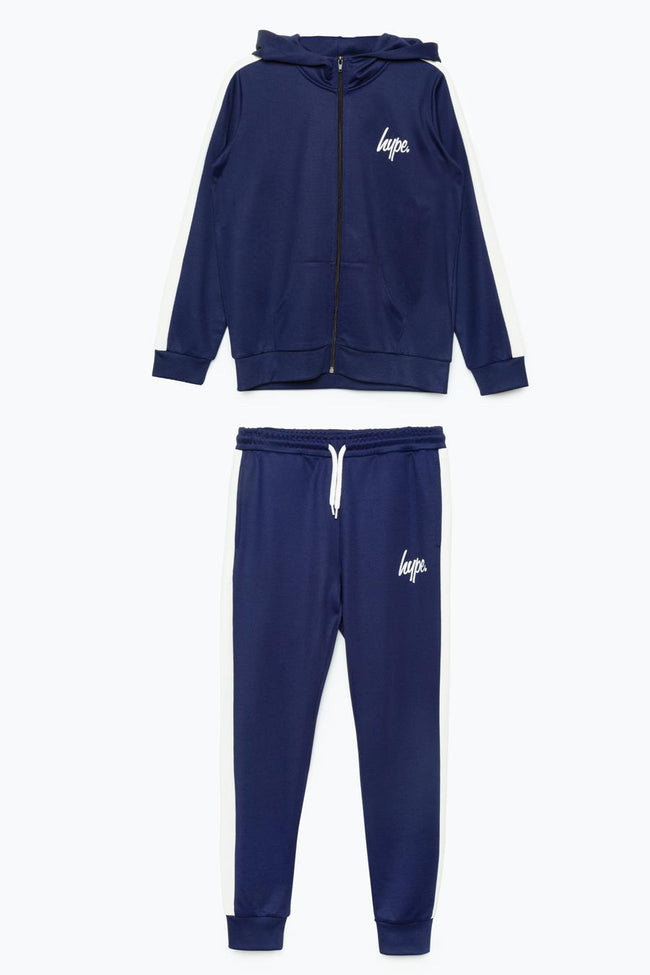 HYPE NAVY SIDE STRIPE KIDS TRACKSUIT