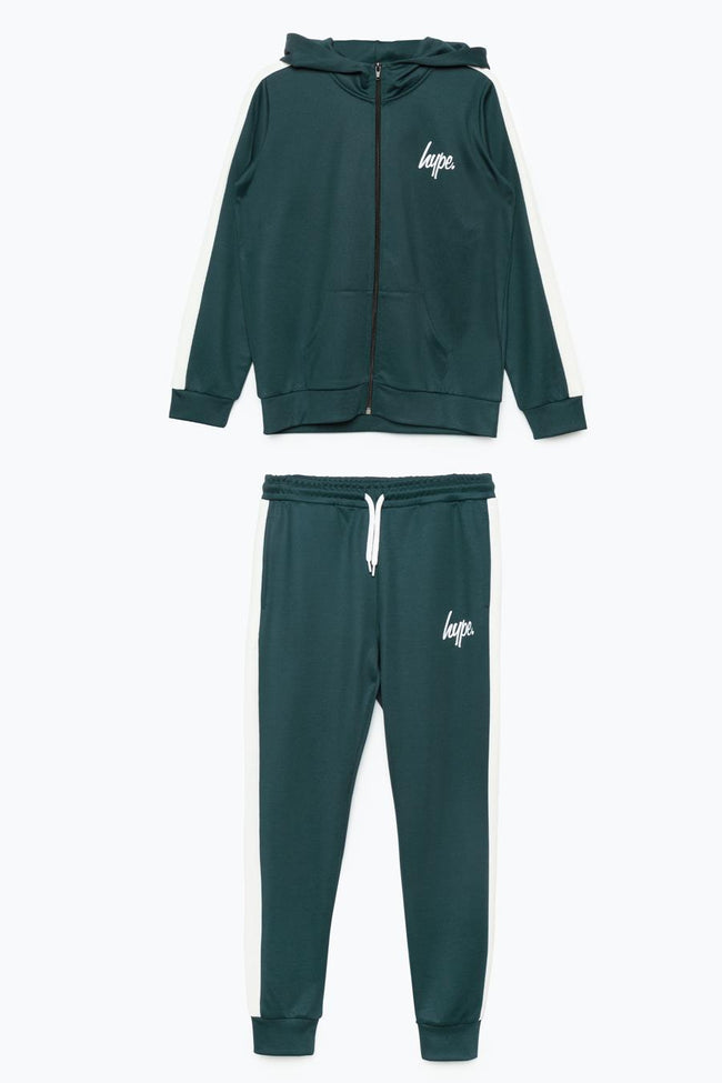 HYPE DARK GREEN SIDE STRIPE KIDS TRACKSUIT