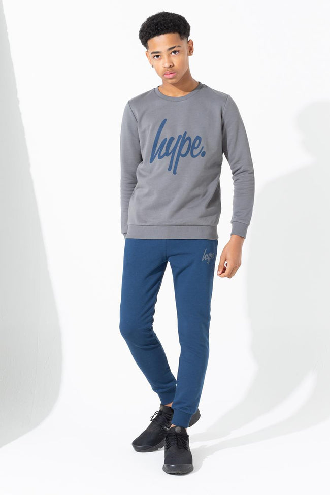 HYPE CHARCOAL SWEATSHIRT & NAVY JOGGER KIDS SET