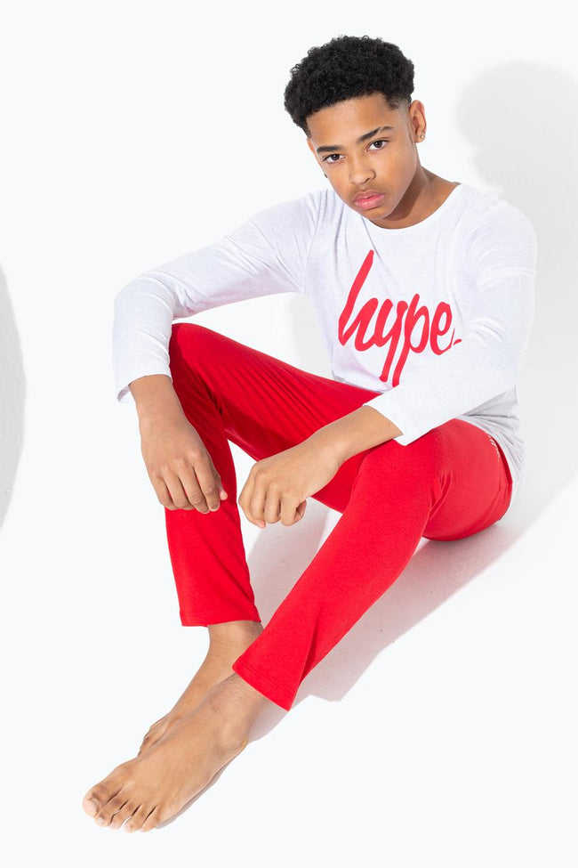 HYPE GREY WITH RED SCRIPT KIDS PYJAMA SET