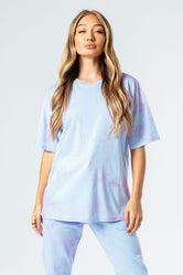 HYPE BLUE & PINK TIE DYE WOMEN'S OVERSIZED T-SHIRT
