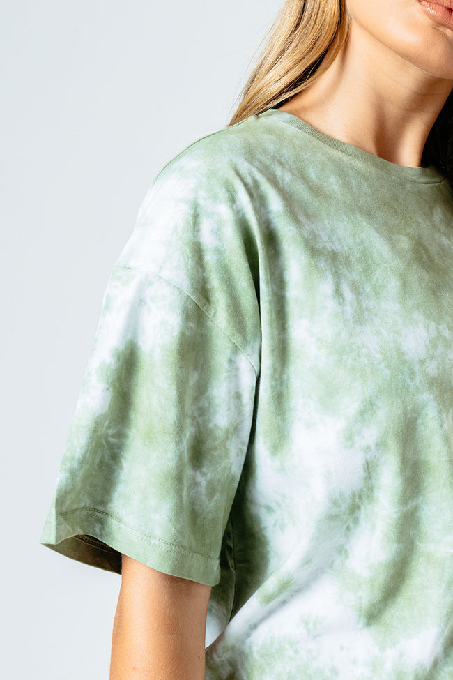 HYPE GREEN TIE DYE WOMEN'S OVERSIZED T-SHIRT