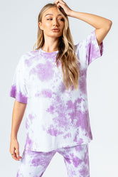 HYPE PINK TIE DYE WOMEN'S OVERSIZED T-SHIRT