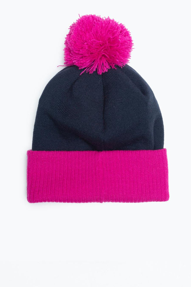 HYPE NAVY PINK TWO TONE SCRIPT BOBBLE BEANIE