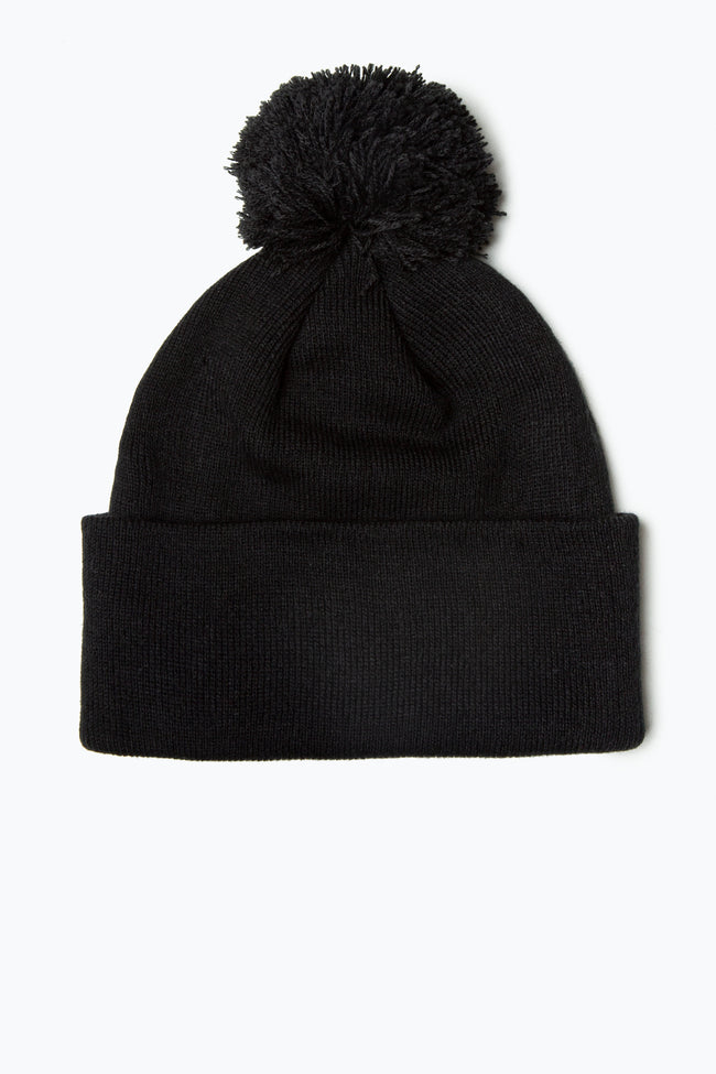 HYPE BLACK BOBBLE BEANIE