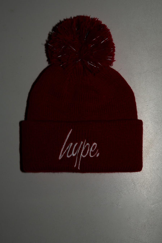 HYPE BRIGHT RED BOBBLE BEANIE