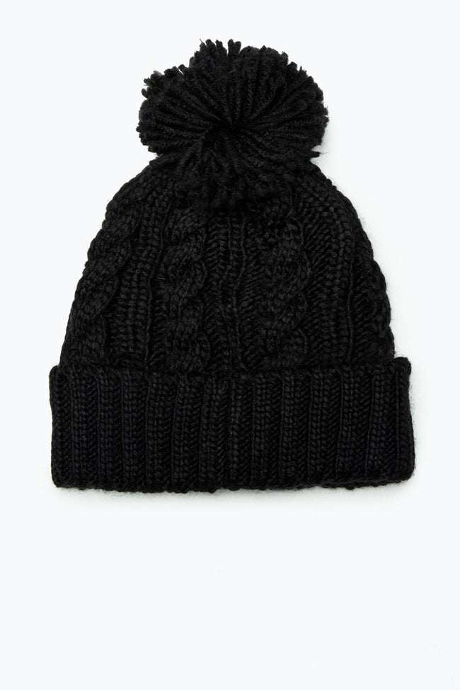 HYPE BLACK CABLE KNIT BOBBLE BEANIE
