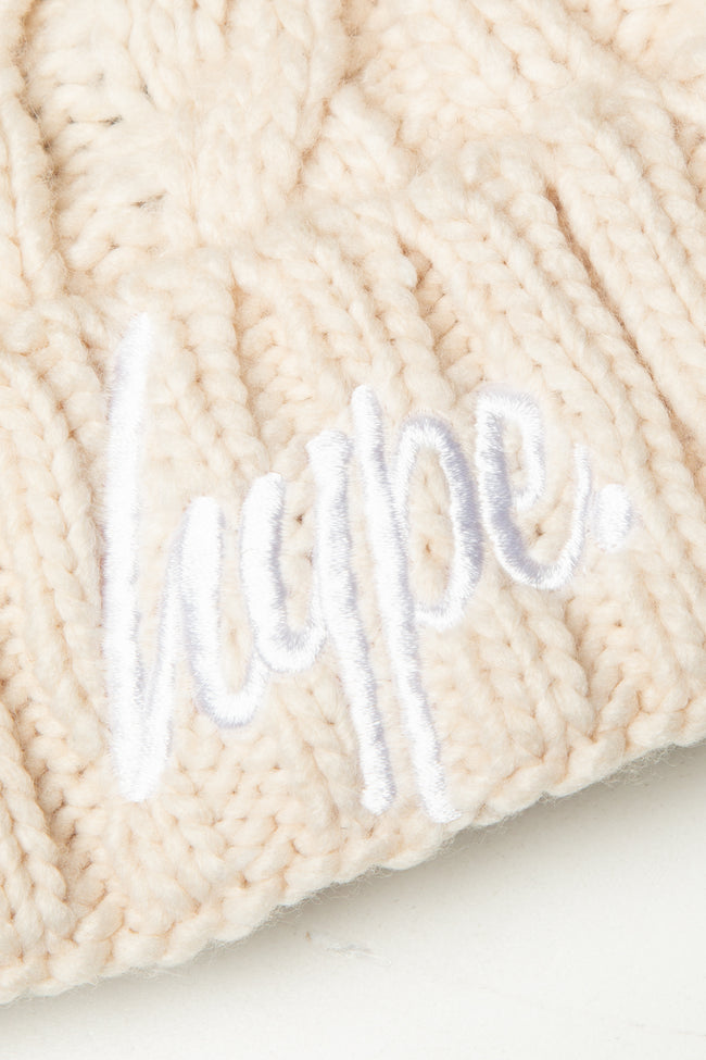 HYPE OATMEAL CABLE KNIT BOBBLE BEANIE